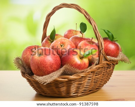 Jonagold apples in a basket on wooden table against garden background - stock photo