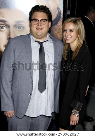 Jonah Hill at the Los Angeles premiere of 'Get Him To The Greek'  held at the Greek Theatre in Los Angeles on May 25, 2010.   - stock photo