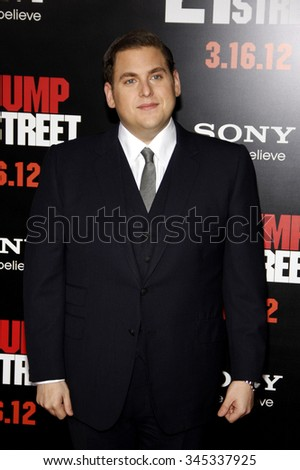 """Jonah Hill at the Los Angeles Premiere of """"21 Jump Street"""" held at the Grauman's Chinese Theater, California, United States on March 13, 2012.   - stock photo"""