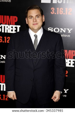 "Jonah Hill at the Los Angeles Premiere of ""21 Jump Street"" held at the Grauman's Chinese Theater, California, United States on March 13, 2012.  - stock photo"