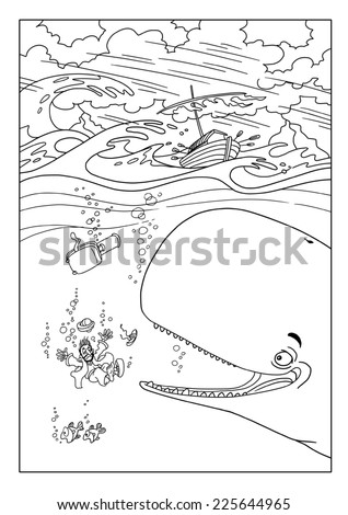Jonah is sinking and it swallows the whale - stock photo