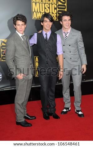 Jonas Brothers  at the 2008 American Musica Awards. Nokia Theatre, Los Angeles, CA. 11-23-08 - stock photo