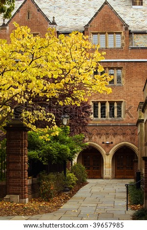 Jonathan Edwards College of Yale university in fall colors - stock photo