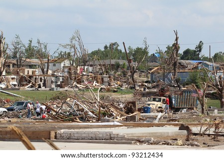 JOPLIN, MO.-JUNE 25:Clean-up continues on the massive damage caused to 1/3 of the city by the historic EF-5 Tornado that tore through this small midwestern city over a month ago June 25,2011 in Joplin - stock photo