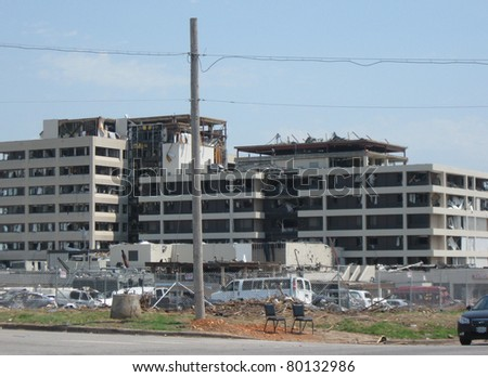 JOPLIN, MO.  JUNE 21, 2011--St John's Hospital one month later after the tornado struck Joplin, MO on May 21, 2011. - stock photo