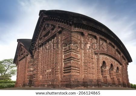 Jorbangla Temple, Bishnupur , India - made of terracotta (baked clay) - world famous tourist spot. - stock photo