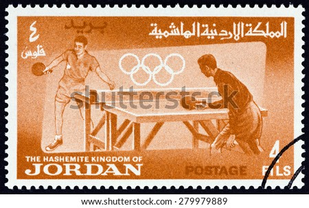 """JORDAN - CIRCA 1964: A stamp printed in Jordan from the """"Olympic Games, Tokyo """" issue shows Table tennis, circa 1964.  - stock photo"""