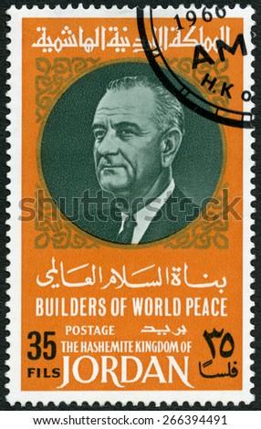JORDAN - CIRCA 1967: A stamp printed in Jordan shows Portrait of Lyndon Baines Johnson (1908-1973), series Builders of World Peace, circa 1967 - stock photo