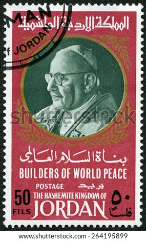 JORDAN - CIRCA 1967: A stamp printed in Jordan shows Portrait of Pope John XXIII (1881-1963), circa 1967 - stock photo