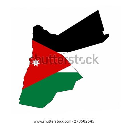 jordan country flag map shape national symbol - stock photo