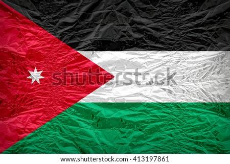 Jordan flag pattern overlay on floyd of candy shell, vintage border style - stock photo