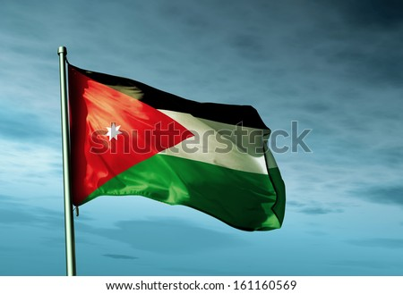 Jordan flag waving on the wind - stock photo