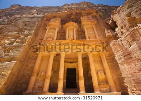 """Jordan. Petra (Petra Archaeological Park). Facade of Al Khazneh (""""The Treasury"""") - stock photo"""