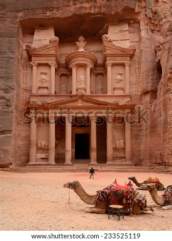 Jordan, Petra. Treasure Trove (Treasury), panoramic view with camels in the foreground