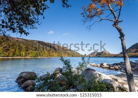 Jordan pond in Autumn, Acadia National Park, Maine, USA - stock photo