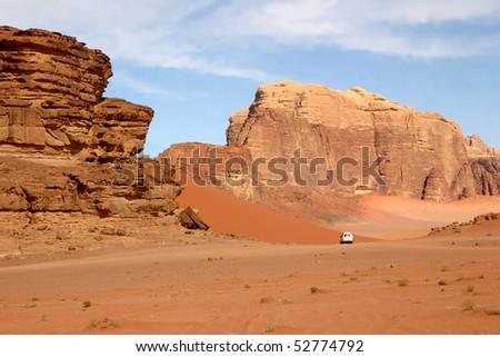 Jordanian Desert at Wadi Rum - stock photo