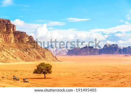 Jordanian desert in Wadi Rum, Jordan viewed from the Lawrence's Spring. Wadi Rum is known as The Valley of the Moon and a UNESCO World Heritage Site. - stock photo