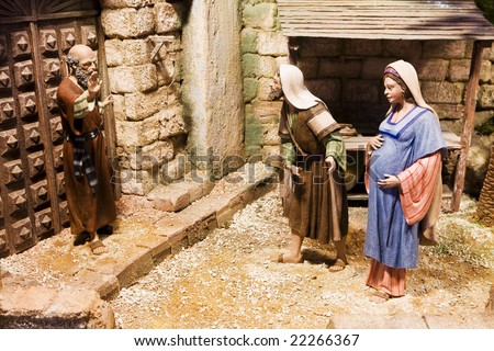 Joseph and pregnant Mary been rejected - stock photo