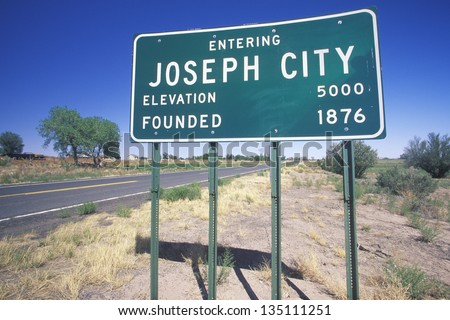 Joseph City sign next to a highway