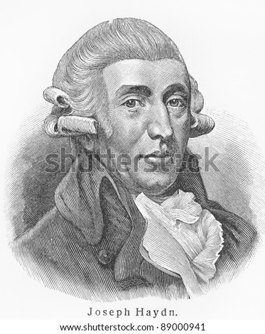 Joseph Haydn - Picture from Meyers Lexicon books written in German language. Collection of 21 volumes published  between 1905 and 1909. - stock photo