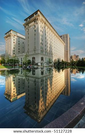 Joseph Smith Memorial Building Perfect Reflection - stock photo