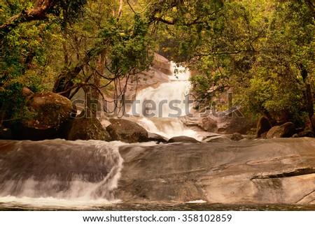 Josephine Falls, Wooroonooran National Park, Queensland, Australia - stock photo