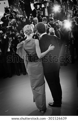 Josh Brolin & fiance Kathryn Boyd  attend the 'Sicario' premiere during the 68th annual Cannes Film Festival on May 19, 2015 in Cannes, France. - stock photo
