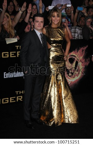 """Josh Hutcherson, Jennifer Lawrence at """"The Hunger Games"""" Los Angeles Premiere, Nokia Theater, Los Angeles, CA 03-12-12 - stock photo"""