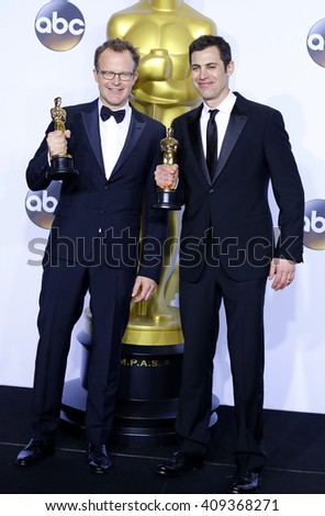 Josh Singer and Tom McCarthy at the 88th Annual Academy Awards - Press Room held at the Loews Hotel in Hollywood, USA on February 28, 2016. - stock photo