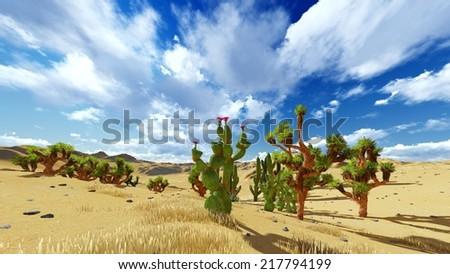 Joshua trees in USA national park - stock photo