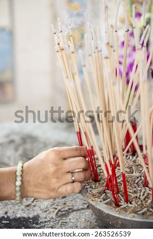 joss stick pot at the graveyard,Thailand - stock photo