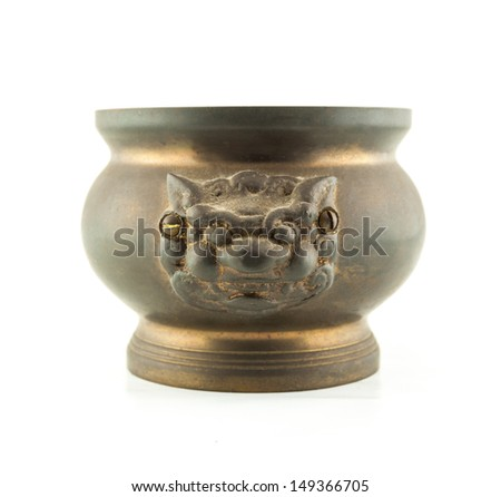 joss stick pot  incense burner with lion statue on white