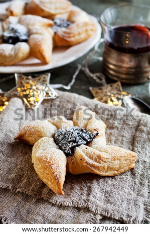 Joulutorttu, traditional finnish christmas pastry - stock photo