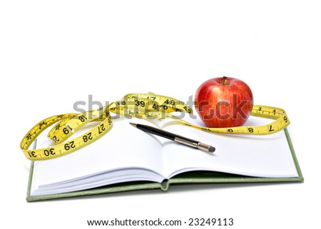 Journal, tape measure and apple - diet concept - stock photo