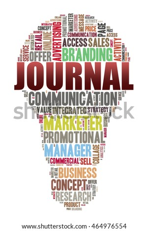 journal word on word cloud concept with bulb shape