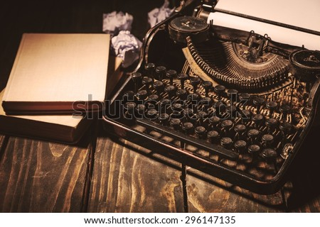 Journalism, old, page. - stock photo