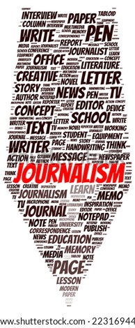Journalism word cloud shape concept