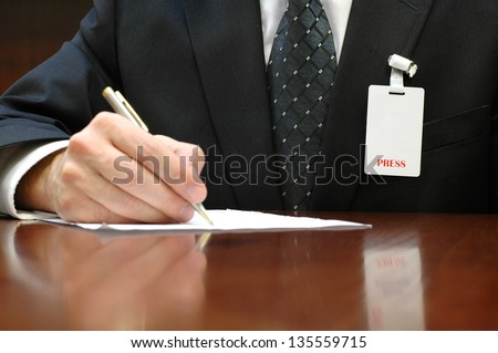 Journalist and press identification card , press concept , press id - stock photo