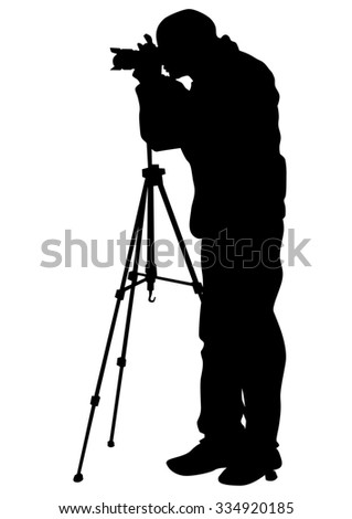 Journalist and tripod of video camera on white background - stock photo