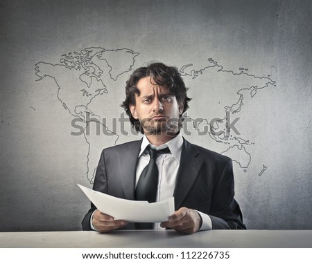journalist making expression - stock photo