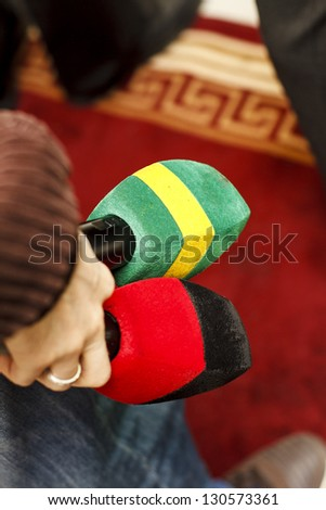 Journalist Ready For interview With Microphones In The Hand - stock photo