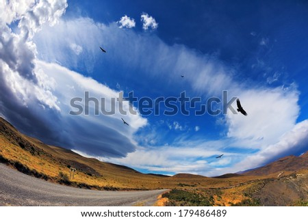 Journey into a far country. Gravel road, incredible forms clouds and Andean condors. The picture was taken Fisheye lens - stock photo