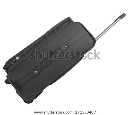 Journey suitcase isolated on white. Clipping path included. - stock photo
