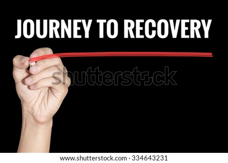 Journey to Recovery word writting by men hand holding highlighter pen with line on black background - stock photo