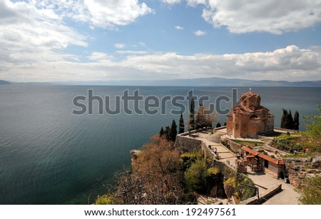Jovan Kaneo Church in Morning Light at Lake Ohrid, Macedonia. - stock photo