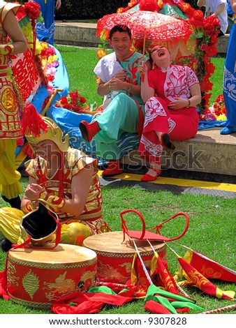 Joy after Chinese New Year parade - stock photo