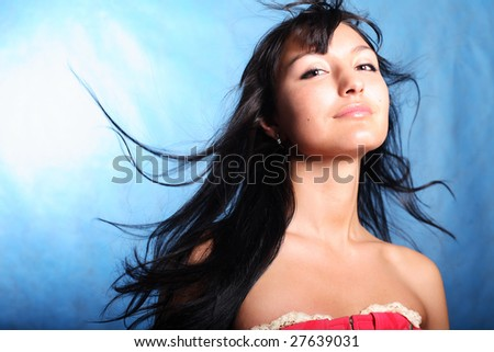 Joy woman. Hair motion - stock photo