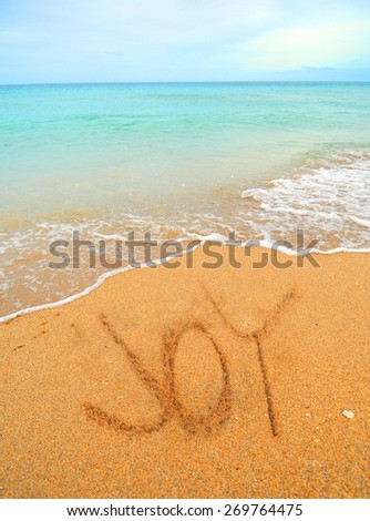 joy written in the sand on the shoreline at the beach - stock photo