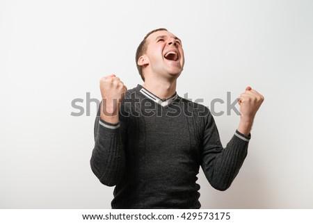 Joyful, a very happy man - stock photo