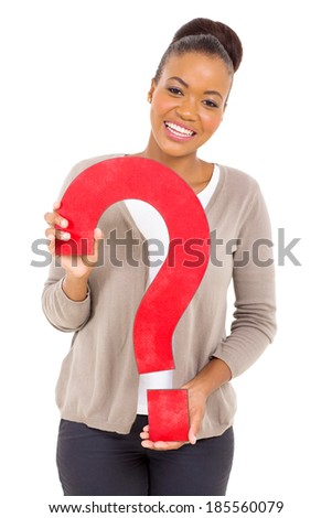 joyful african american girl with question mark on white background - stock photo